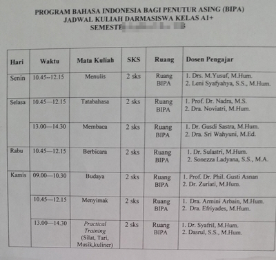 bahasa indonesia time table